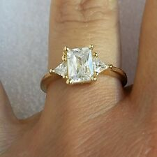 1.2 Ct 14k yellow gold 3 stone triangle princess cut Engagement ring S 6.5
