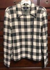 Chaps Petites Gray & Cream Checkered Sweater Moto Jacket Size PXL NWT