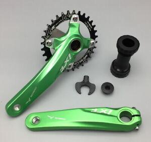 New IXF MTB Bike Crankset arm 170mm Chainring BCD 104 Round Oval 32-42T Green