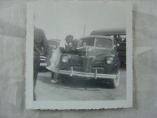 Vintage Car Photo Black Woman w/ 1941 Ford 818