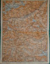 Switzerland Unterengadin oben unter fluchthorn Engadin  Antique map karte 1909