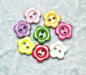 """4 Pack New Plastic Resin Flower Buttons 1/2"""" with 2 holes choose color"""
