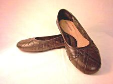 Hush Puppies Flat Black Leather Woven Braided Womens 5.5