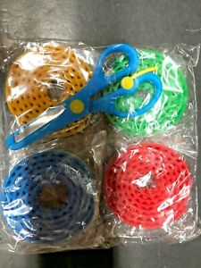 4x Building Block Tape Soft, Self Adhesive 4 Color Pack w/ Safety Scissors - NEW