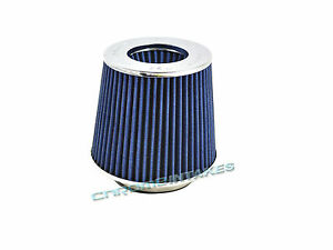 """BLUE UNIVERSAL 3"""" 76mm DRY AIR FILTER FOR SATURN/CHEVY SHORT/COLD AIR INTAKE"""