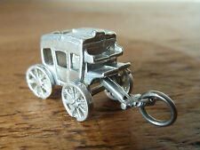 Vintage 925 Silver Carriage Moving Wheels Old Charm Pendant Cleaned Polished