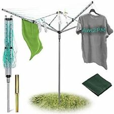4 Arm 50M Rotary Airer Clothes Dryer Drying Washing Line Ground Socket Outdoor