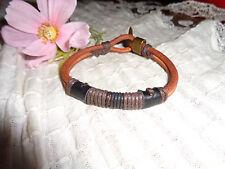 Echtes Rindleder(rauh) Armband braun mit Verschluß in bronze