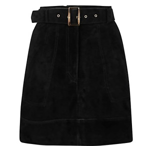 M&S COLLECTION STONE BLACK or SUEDE BELTED A-LINE MINI SKIRT