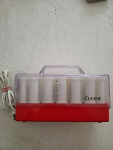 Red Case CLAIROL INSTANT HEAT 20WAX CORE HOT ROLLERS CURLERS Model C-20-1, WORKS