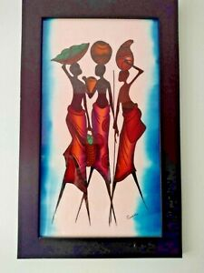 African Art Canvas Wall Art Painting signed  by South African artist  P Nakate