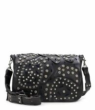 NEW PATRICIA NASH LEATHER $249 ROSA STUDDED LINK BLACK  SADDLE BAG