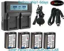 LCD Charger +4XNP-FW50 Battery For Sony NEX-3 NEX-5 NEX-C3 NEX-5N NEX-F3 AU-ship