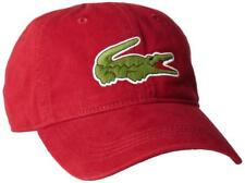 NEW LACOSTE AUTHENTIC LARGE CROCODILE MEN'S GABARDINE RED BACKSTRAP HAT CAP