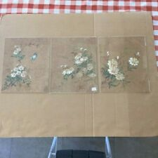 3 RARE VINTAGE CHINESE (HONG KONG)  FLOWER PAINTING ON RICE / PITH PAPER