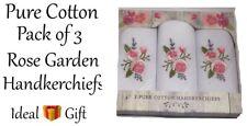 HANDKERCHIEFS Rose Garden Set Of 3 Embroidered Pure Cotton X 2Sets New