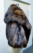 VTG BROWN RUSSIAN SABLE FUR CAPE STOLE WRAP W/ LARGE COLLAR**VERY LUXE**MINT