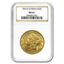 1873-S $20 Liberty Gold Double Eagle Closed 3 MS-61 NGC