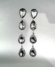 GLITZY Smoky Gray Czech Crystals Chandelier Pageant Prom Bridal Earrings 4320L