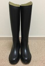 NIB Chanel 14B Black Leather Calfskin Logo Tall High Riding Boot Shoe 37.5 $1725
