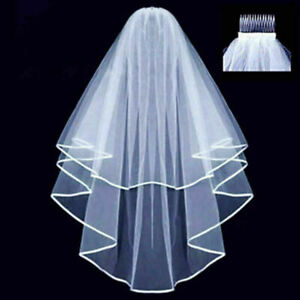 UK Veil Comb White With Gold Bride to Be Hen Night Wedding Party Accessories