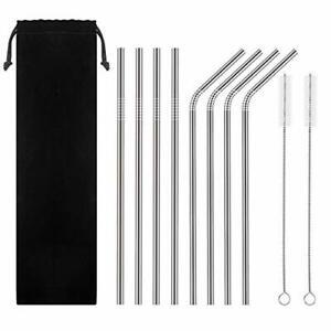 Stainless Straw - 8 pcs Straw + 2 Brushes- Metal Straw