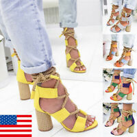 Womens Sandals Block Chunky High Heel Ankle Open Toe Bandage Beach Sandals Shoes