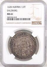 1628 Austria Salzburg 1/2 Taler MS61 NGC - Beautifully Struck Scarce Quality!!!