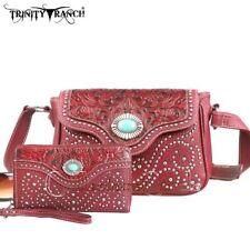 Montana West Trinity Ranch Tooled Design Messenger Bag Wallet Set Burgundy