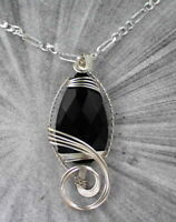BLACK ONYX GEMSTONE PENDANT NECKLACE WIRE WRAPPED STERLING SILVER