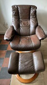 EKORNES Stressless Chair & Footstool, Brown Leather Swivel Recliner Armchair