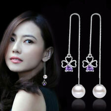 Women 925 Silver Amethyst Clover Pearl Pendant Long Ear Line Earrings Jewelry