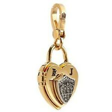 JUICY COUTURE Padlock Heart Locket Charm Pave Crystal Shield RETIRED NEW in BOX
