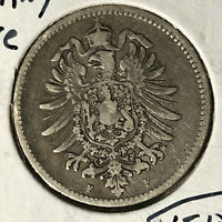 1875-F Germany 1 Mark Silver Coin VF/XF Condition