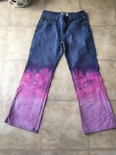 Tie Dyed Jeans Size 8 Short Hippie Jeans Upcycled Festival Boho OOAK