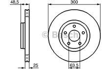 1x BOSCH Disco de freno delantero Ventilado 300mm Para VOLVO V50 0 986 479 C52