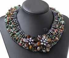 bid Statement Necklace Agate Crystal pearl flower choker necklace