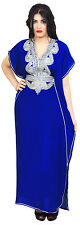 Moroccan Caftan Women kaftan Abaya Beach Summer Long Dress Cotton Royal Blue