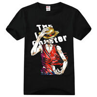 Anime One Piece Monkey D Luffy Strawhat Cotton T-Shirt Tee Shirts Tops Blouse
