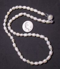 "White Cultured Ridged Baroque Pearl Necklace, 21"" Matinee Length, Box Clasp"