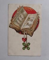 Antique c1920 Christmas Postcard. Wishing you a Happy Prosperous New Year. Book