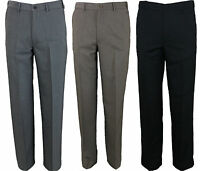 Mens Farah Trouser Flat Front Flexible Waist in 3 Colours 30 to 64 Big Waists