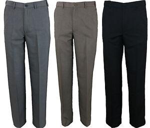 Mens Farah Trouser Flat Front Flexible Waist in 3 Colours 30 to 64 Big Waists