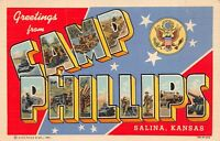 Vintage Greetings From CAMP PHILLIPS Salina Kansas WW2  Linen Postcard 1943