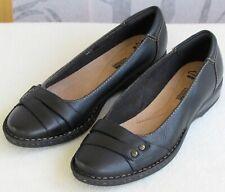 9   Clarks Soft Cushion Women Black Pebbled Leather Slip On Ballet Flat Shoe