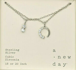 """A New Day Sterling Silver Necklace Charms Chain Link Cubic Zirconia Jewelry 20"""""""
