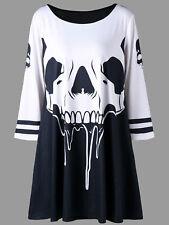 Plus Size Skull Print Tunic T-shirt Women Fashion Chic Halloween Shirt Dress