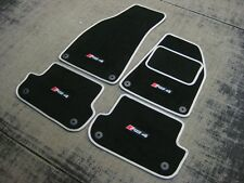 Esteras De Coche Negro/Plata Para Ajuste Audi RS4 B7 (2006-2008) + Logotipos de RS4 (x4) + Fijaciones