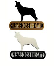 Border Collie Please Close The Gate Silhouette Dog Plaque - House Garden Sign