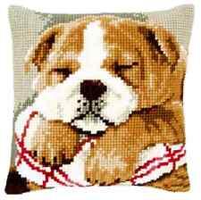 Sleeping Bull Dog - Large Holed Printed Tapestry Cushion Kit - Cross Stitch Kit